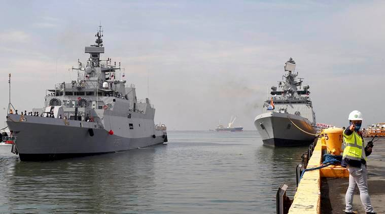 India Japan naval exercise, Indian naval ships, INS Satpura, INS Kadmatt, PASSEX, Japanese defence force, India news, Indian Express