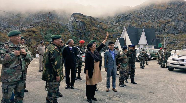 India's defence minister interacts with Chinese soldiers at border checkpoint