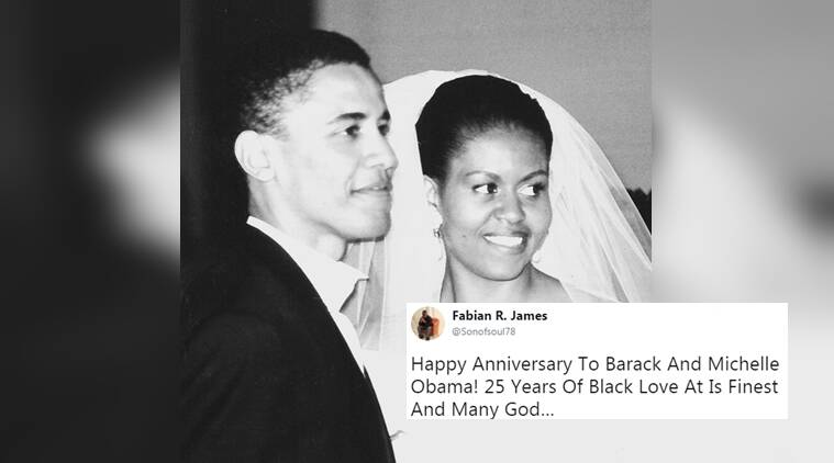 barack obama, michelle obama, barack and michelle obama 25th marriage anniversary, barack and michelle obama marriage, twitter reactions, indian express, indian express news