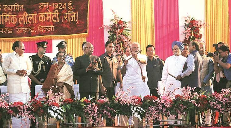 narendra modi, pm modi, modi ravan effigy, Dussehra, new india, ram nath kovind, manmohan singh, indian express news, india news