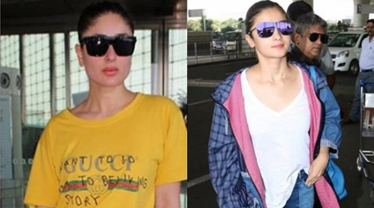 Kareena Kapoor Khan, Alia Bhatt, airport look, celeb fashion, celebrity fashion diaries, Kareena Kapoor Gucci t-shirt, Gucci India, Only India, bollywood divas, bollywood fashion diary, bollywood airport looks, alia bhatt airport looks, kareena airport looks, basic college wear, Indian express, indian express news