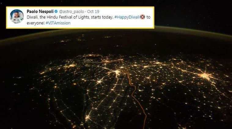 nasa, nasa photo, diwali, diwali 2017, diwali photo from space, india photo from space, nasa photo from space, india diwali lights, diwali lights 2017, indian express, indian express news