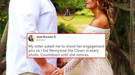 Guy pulls a SPOOKY PRANK in sister's engagement photos; 'hides' Pennywise, the horror clown, everywhere