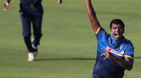 Thisara Perera in action against Pakistan