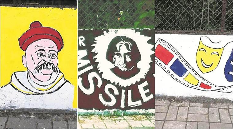 Pune University, Pune Wall Painting, Wall Painting Pune, Pune University, FTII Pune, Pune News, Latest Pune News, Indian Express, Indian Express News