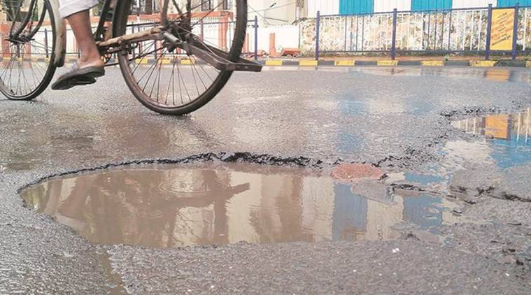 BMC area, BMC area potholes, BMC Potholes, BMC Imported Filing Material, BMC, Mumbai News, Latest Mumbai News, Indian Express, Indian Express News