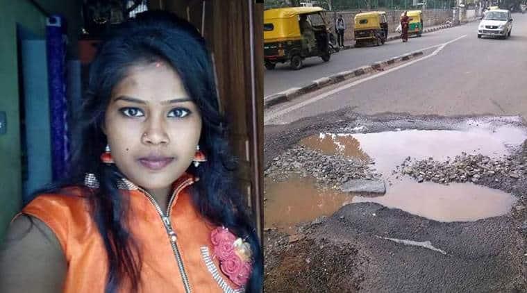 Bengaluru, Bengaluru potholes, Pothole death, Bengaluru accident, Bengaluru pothole death, G Veena, Bengaluru news, Indian Express