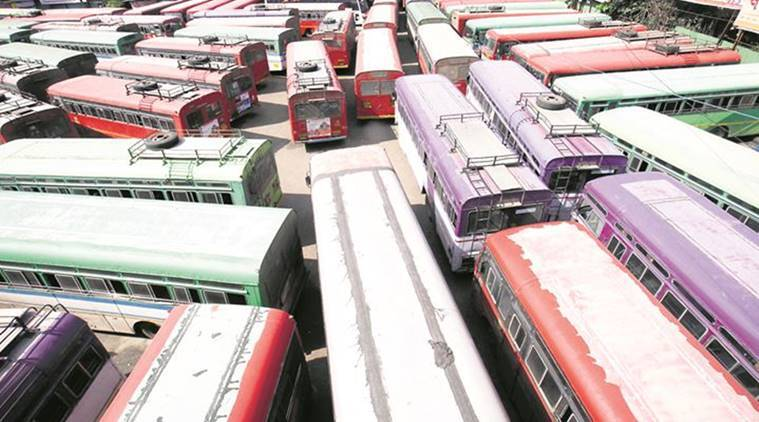 mstrc buses, msrtc bus strike, msrtc employees, msrtc wages, msrtc union, mumbai news, latest news, indian express