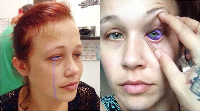 model sclera tattoo goes wrong, eye tattoo goes wrong, model purple tears eye tattoo, Catt Gallinger eye tattoo, indian express, indian express news
