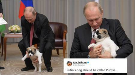 Photos of Vladimir Putin with puppy, gifted by Turkmenistan president, have become a hit meme