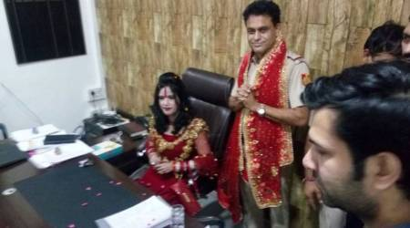 Radhe Maa welcomed at Delhi Police station, sits on SHO's chair