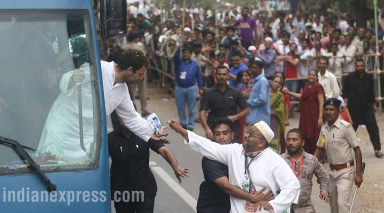 Rahul Gandhi, Congress, Navsarjan Yatra, Narendra Modi, BJP, RSS, Gujarat election, Rahul Gandhi in Gujarat, Rahul Gandhi Gujarat visit, Rahul Gandhi rally, Rahul Gandhi rally photos, India news, Indian Express