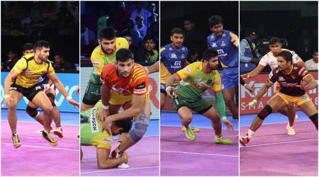 Pro Kabaddi 2017 photos, PKL season 5, Pro Kabaddi top raiders pictures, Sachin Tawar photos, Pardeep Narwal images, Rahul Chaudhari pics, Kabaddi photos, kabaddi Raiders pics, Indian Express