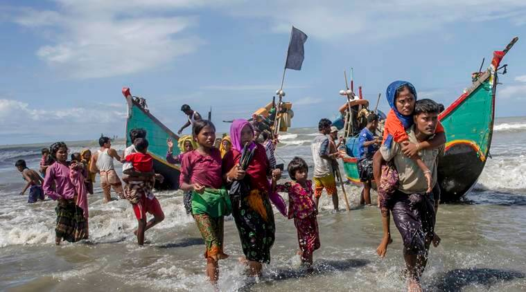 rohingya muslim flee, rohingya muslim flee myanmar, violence in myanmar, rohingya flee to bangladesh, indian express news