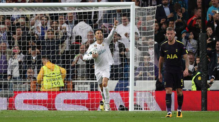 real madrid vs spurs, real madrid vs tottenham, uefa champions league, hugo lloris, raphael varane, real madrid spurs score, real madrid spurs highlights, football news, cristiano ronaldo, indian express