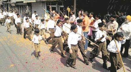 RSS Shastra Puja in Punjab minus swords, fire arms
