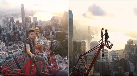 VIDEO: Russian couple's daredevil selfies atop Hong Kong's highest crane are breathtaking!