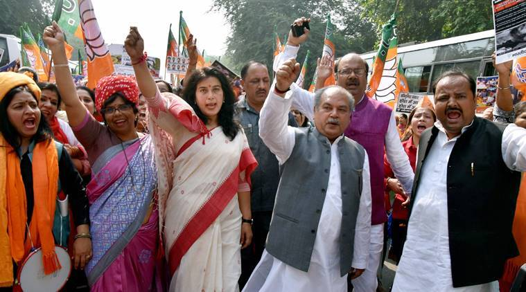 Saroj Pandey, Gougeda, Kerala hartal, BJP, BJP leader gouge eyes, CPM, Gouge eyes, BJP in Kerala, India news, Indian Express