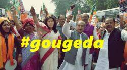 Saroj Pandey, Gougeda, Kerala hartal, BJP, BJP leader gouge eyes, CPM, Gouge eyes, BJP in Kerala, India news, Indian Express
