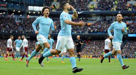 Sergio Aguero, Manchester City vs Burnley, Premier League, sports news, football, Indian Express