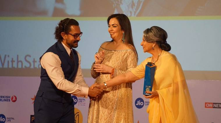 Sharmila Tagore, Sharmila Tagore Jio MAMI award, Sharmila Tagore speech, aamir khan, Sharmila Tagore news
