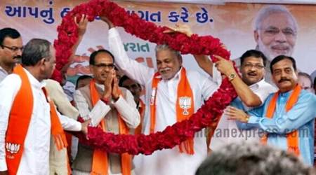 shivraj singh chouhan photos, shivraj chouhan gujarat visit images, bjp, bjp gujarat gaurav yatra pictures, madhya pradesh, mp cm in gujarat, chouhan gujarat pics, shivraj chouhan gujarat pictues, ankleshwar, bjp poll campaign, indian express