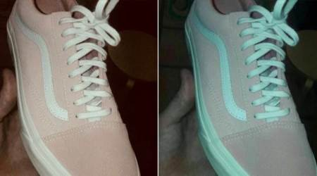 Pink and White or Teal and Grey? What colour are these shoes? Twitterati can't decide