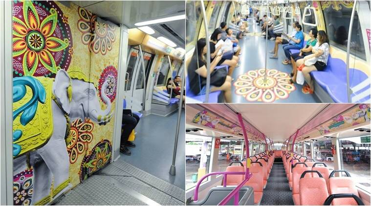 diwali, diwali celebrations, diwali celebrations in india, diwali celebrations across india, diwali celebrations in singapore, siwali themed buses in singapore, indian express, indian express news