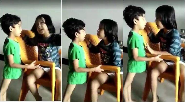 children video, funny kids video, brother sister videos, brother sister relationship, kids videos, viral videos, cute children scolding videos, indian express