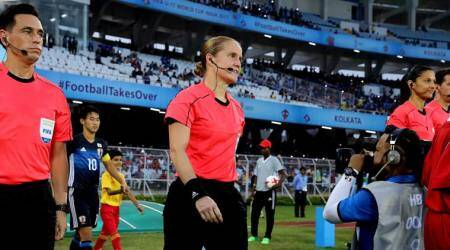 FIFA U-17 World Cup, Esther Staubli, Staubli, female referee, Staubli photos, Japan and New Caledonia, Football photos, Indian Express