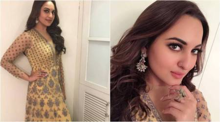Sonakshi Sinha enchants us in a pastel yellow Falguni and Shane Peacock anarkali suit