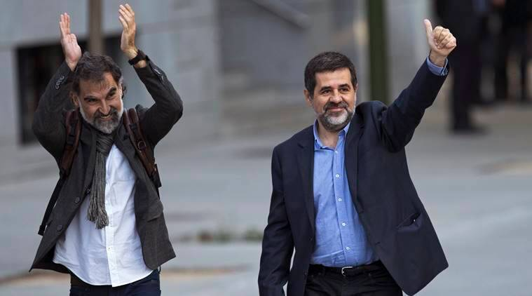 Jordi Sanchez, Jordi Cuixart, Catalonia independence movement, Catalonia freedom movement, Catalonia freedom struggle, Catalonia, Barcelona, Spain, World news, Indian express news