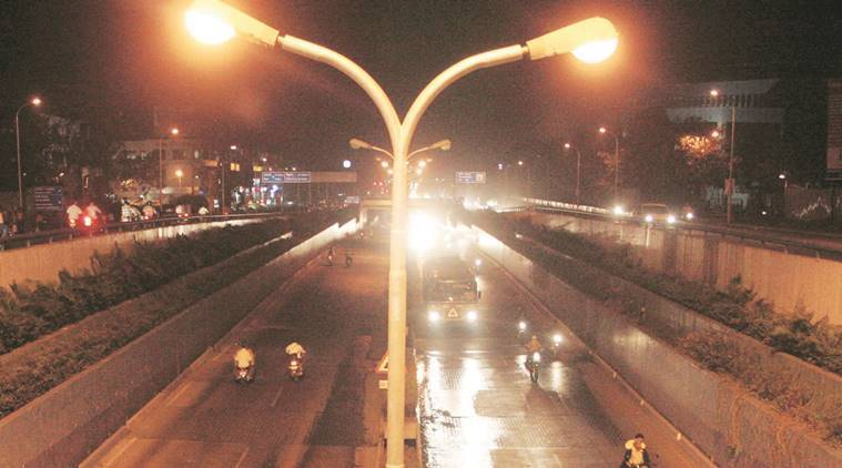 Gurgaon street lights, Gurgaon LED, LED, Diwali, SLNP project, EECL, gurugram news, indian express news