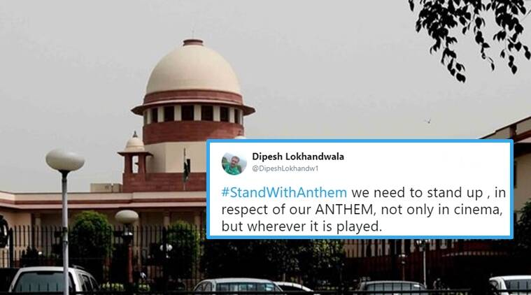 national anthem debate, stand with anthem, stand with anthem twitter, twitter reactions on stand with anthem, Indian express, Indian express news