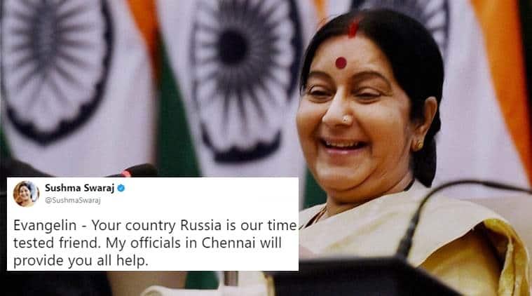 sushma swaraj, sushma swaraj twitter, sushma swaraj helps russian man, sushma swaraj helps russian man robbed, sushma swaraj helps russian man begging, sushma swaraj helps russian man begging at kanchipuram temple, indian express, indian express news