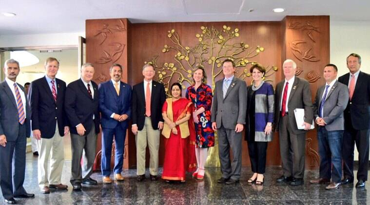 Sushma Swaraj, Swaraj, H1B visa, US congressional delegation, Minister of External affairs, India news, indian express news