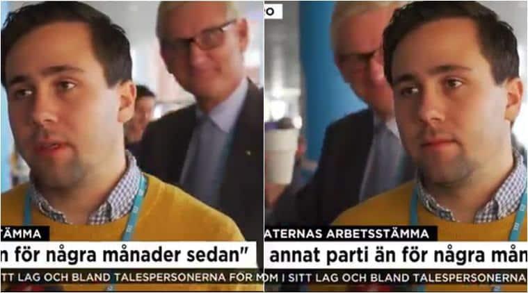 Carl Bildt, Carl Bildt interupts interview, photobombing, live tv interruptions, tv bloppers, funny live tv videos, funny videos, sweden ex pm photobombs live tv, viral news, indian express