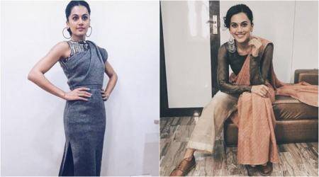 Taapsee Pannu, taapsee pannu kbc look, taapsee pannu sari, taapsee pannu style file, bollywood fashion, celeb fashion, fahion news, lifestyle news, indian express, indian express news