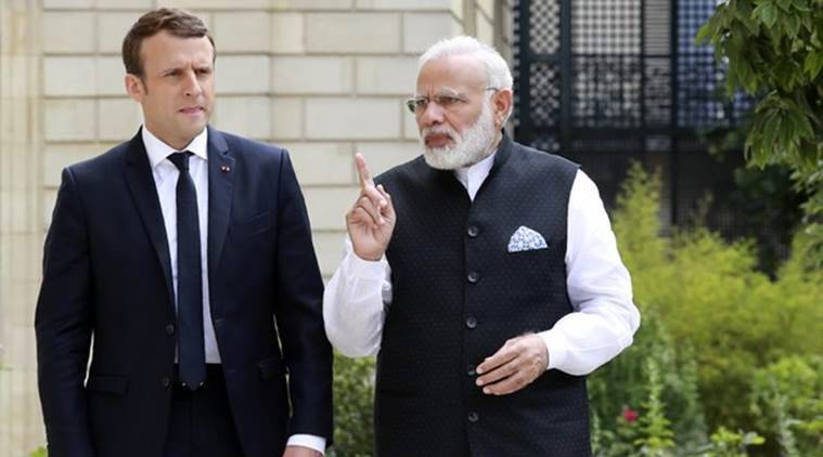 Emmanuel Macron, Narendra Modi, International Solar Alliance, French President Emmanuel Macron, Emmanuel Macron india visit, Prime Minister Narendra Modi, PM Modi, G-20 summit, France, India, Modi in France, France India relations, Modi foreign tour, solar power, indian express, world news, latest news