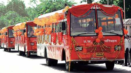 Uttar Pradesh buses, Yogi Adityanath, UP Saffron, Samajwadi Party, BJP, BSP, BSP blue buses, Samazwadi party red-and-green buses, UP buses saffron, India news, Indian Express