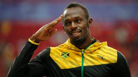 Usain Bolt trains at Norwegian football club Stromsgodset