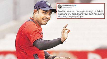 virender sehwag, sehwag tweets, virender sehwag kanpur, kanpuri style, kanpur bakaiti, india vs new zealand, ind vs nz, indian express, indian express news