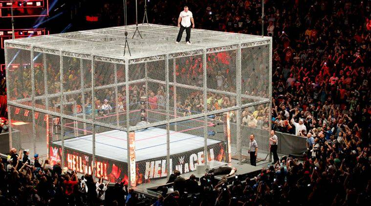 wwe hell in a cell, kevin owens, shane mcmahon, hell in a cell matches, hell in a cell result, wwe news, indian express