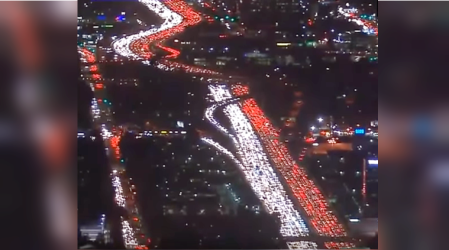 VIDEO: Aerial footage of bumper-to-bumper Los Angeles traffic goes viral
