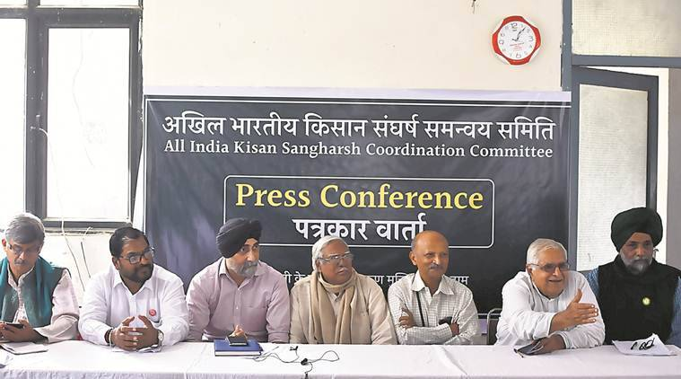 trade union, farmer groups, aikscc, protest, indian express