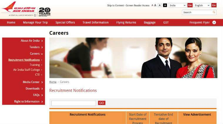 Air India Recruitment 201, Air India Jobs, Air India Career, Air Indian Cabin Crew Recruitment, airindia.in, jobs in air india, govt jobs