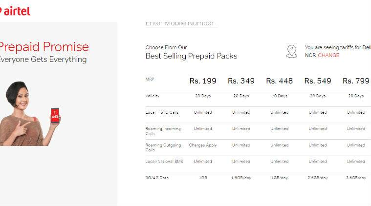 Airtel recharge offers plans prepaid Rs 799 Rs 549