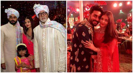VIDEO: Abhishek, Aishwarya, Aaradhya Bachchan groove to BHANGRA beats at a WEDDING!