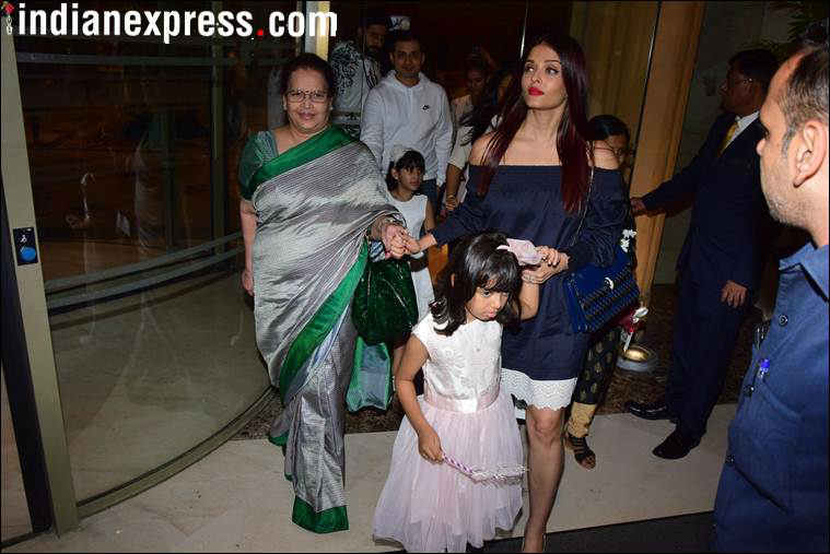 aishwarya rai mother vrinda rai at aardhya birthday party