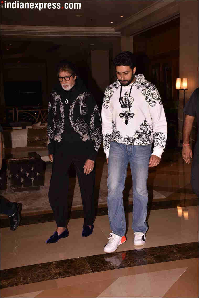 amitabh bachchan with abhishek at aardhya birthday party